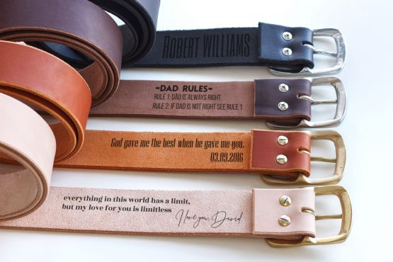 SOLID BRASS BUCKLE LEATHER BELTS PERSONALIZED
