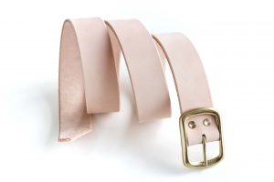 SOLID BRASS BUCKLE LEATHER BELT _ 01 - NATURAL - POLISHED BRASS BUCKLE