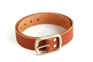SOLID BRASS BUCKLE LEATHER BELT _ 02 - TOBACCO - SATIN BRASS BUCKLE