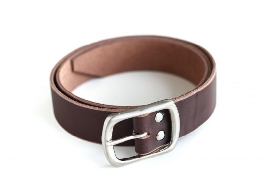 SOLID BRASS BUCKLE LEATHER BELT _ 03 - BROWN - SATIN CHROME PLATING BUCKLE